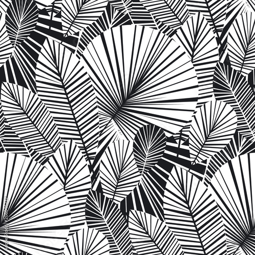 Tropical palm leaves seamless pattern Canvas Print