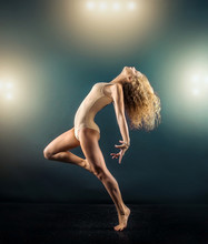 One Person, Gymnastic, Dancer, Woman In Dynamic Beautiful Action