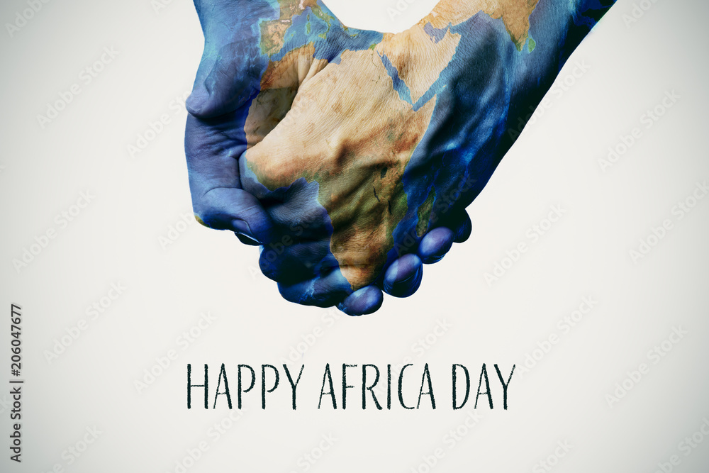 Fototapeta text happy africa day and map (furnished by NASA)