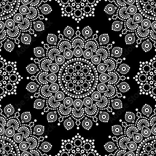 Cotton fabric Dot painting monochrome vector seamless pattern with mandalas, Australian ethnic design, Aboriginal dots pattern in white