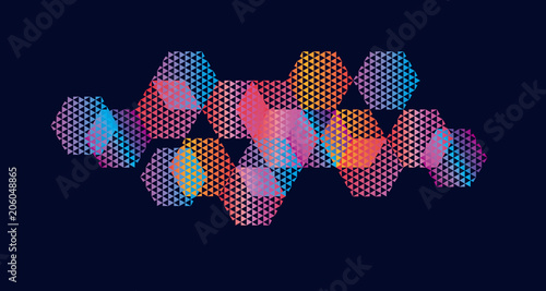 Abstract hexagon geometric colorful element Wallpaper Mural