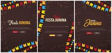 Set Of Festa Junina Background...