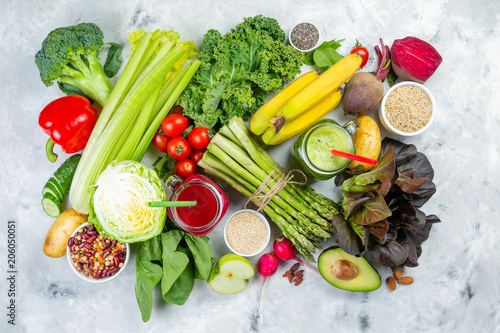 Alkaline diet concept - fresh foods on rustic background Canvas Print