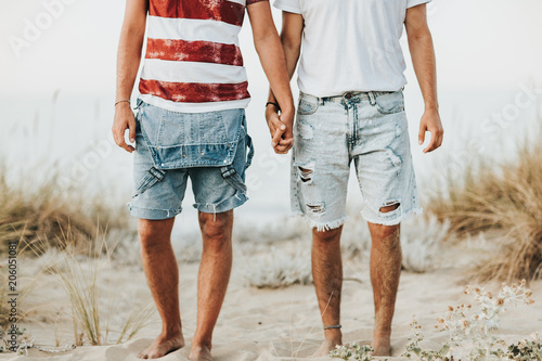 Gay couple holding hands at the beach Canvas Print