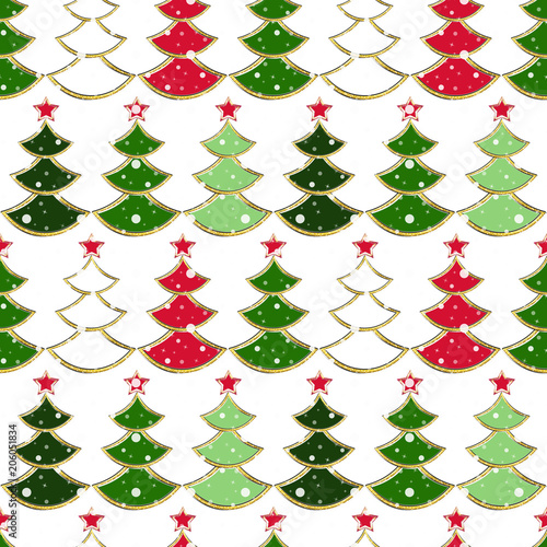 Seamless Christmas Pattern With Colorful Christmas Trees On