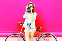 Fuuny Girl With Retro Camera A...