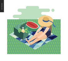 Picnic Image - Flat Cartoon Vector Illustration Of Girl Sitting In The Grass With A Ribbon Sun Hat, Picnic Wicker Basket, Lemonade, Blue Abstract Blanket, Greenery Salad, Watermelon - Summer Postcard