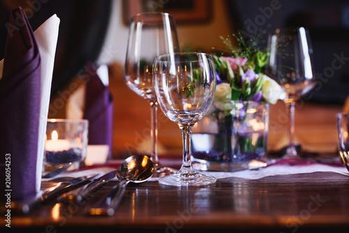 Fotobehang Restaurant Fine table setting in gourmet restaurant