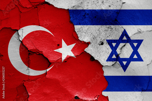 Fotobehang Midden Oosten flags of Turkey and Israel