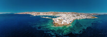 Panorama With Drone At Little Venice Mykonos Greece