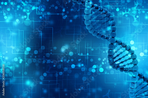 Fotografía  3d render of dna structure, Medical abstract background