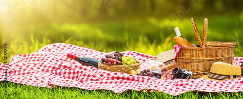 Spoed Foto op Canvas Picknick Picnic on a Sunny Day with Red Grapes and Wine