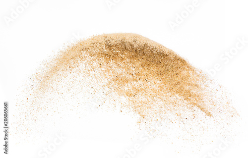 Fotografie, Obraz  Sand flying explode on white background ,throwing freeze stop motion object desi
