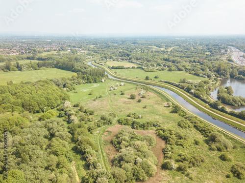 Foto op Canvas Pistache Aerial drone river