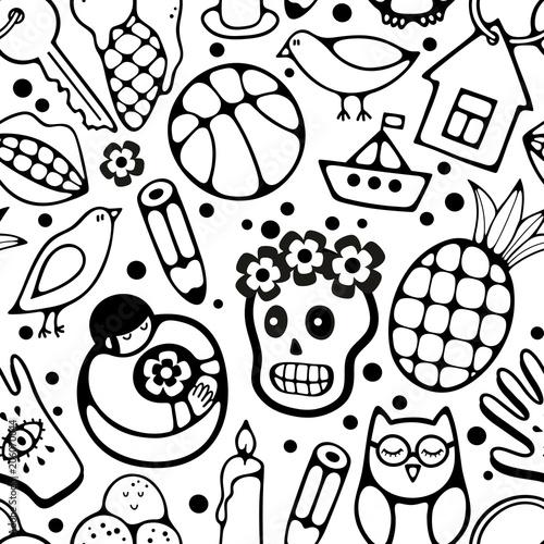 czarno-bialy-wzor-z-postaciami-i-obiektami