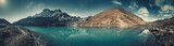 Fototapeta Nature - Spectacular scenery the crystal clear Gokyo Lake on the mighty snow-covered Himalayas background. Strength and beauty of wild virgin nature. Ideal image for the backgrounds and wallpapers.