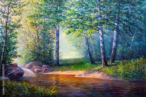 landscape painting of waterfall Poster Mural XXL