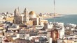 Downtown with historic Cathedral, Cadiz, Spain