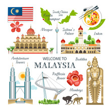 Malaysia Collection Of Traditional Objects  Landmarks Symbols Buildings National Culture