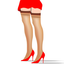 A Woman Wearing A Short Skirt, High Heels , And Stockings Is Featured In A Minimalist Fashion And Beauty Illustration.