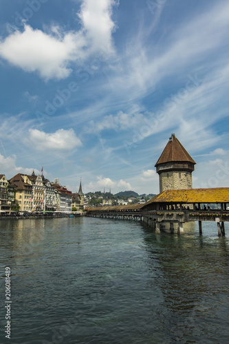 Poster Chapel bridge and Water tower on Reuss river in Lucerne