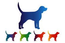 Dog Icon, Gradient Silhouette On White Background
