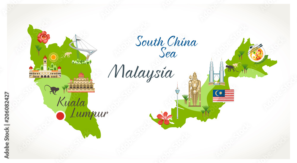 Fototapeta Malaysian map with sights landmark located on it buildings flora symbols buddha statue