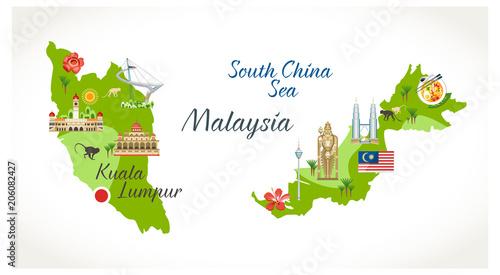 Fotografía  Malaysian map with sights landmark located on it buildings flora symbols buddha