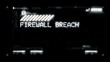 Firewall breach warning message on computer screen, futuristic, grunge. Computer notification on screen
