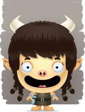 Cartoon Girl Ogre Smiling