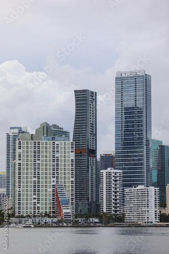 Tuinposter Stad gebouw Telephoto image Brickell skyscrapers Miami