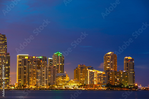 Staande foto Stad gebouw Night photo of Brickell Key Miami long exposure