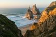 Sunset view of a hidden Praia Da Ursa near Cabo Da Roca, Portugal