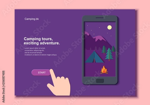 Foto op Aluminium Snoeien Evening camp with a fire and a tent pine forest and rocky mountains in a mobile phone with hand in paper cut style. Camping mobile template adventure application. Vector illustration card.