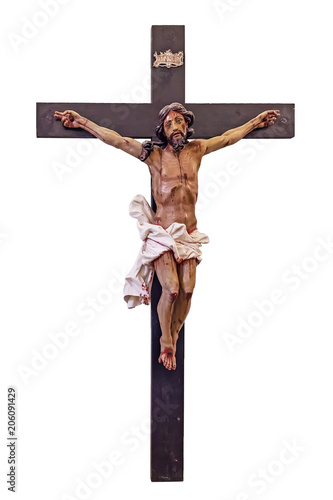 18th century Baroque Crucifix in natural size cut out, cut-out or cutout Fototapete