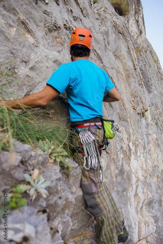 Man climbing on mountain
