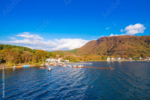 Fotobehang Meer / Vijver View of the landscape at lake Ashi in Hakone, Japan. Copy space for text.