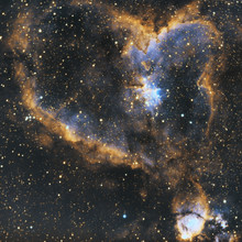 Great Close Up To IC 1805 Or Better Known As Hearth Nebula In Cassiopeia Constellation With Huge Ammount Of Stars, Taken By An Apochromatic Telescope And Narrowband Filters.