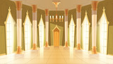 Vector castle hall, interior of ballroom for dancing, presentation or royal reception. Big room with chandelier, columns, pillars in luxury medieval palace. Fantasy, fairy tale or game background