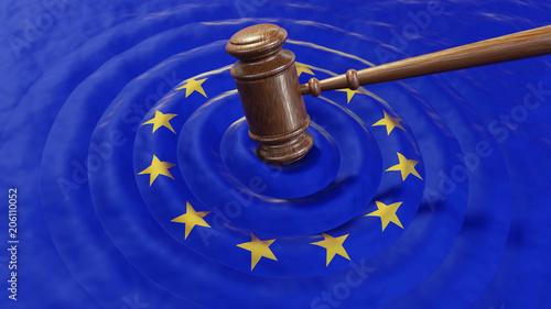 Obraz EU judge hammer sentencing European Union GDPR fine - fototapety do salonu