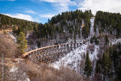 Fényképezés An old wooden trestle running through the mountains in New Mexico