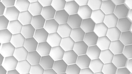 Panel Szklany 3D White hexagon background. 3D Rendering