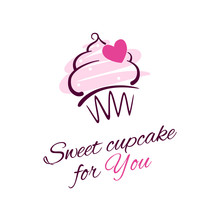 Greeting Card Template With Cupcake Illustration, Pink Heart And Typographic Text On The White Background