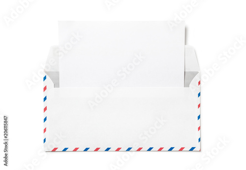 Open Envelope With A Sheet Of White Paper. Blank Airmail Envelope With  Empty Template Letter