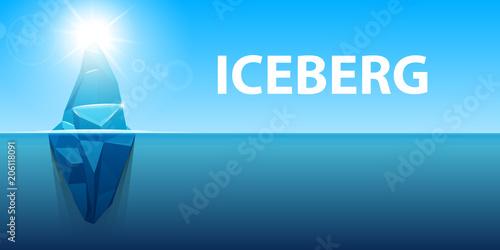 Fotobehang Lichtblauw Creative vector illustration of under water antarctic ocean iceberg. Art design infographic template. Hidden danger of global warming of Abstract concept graphic for business metaphor polar element