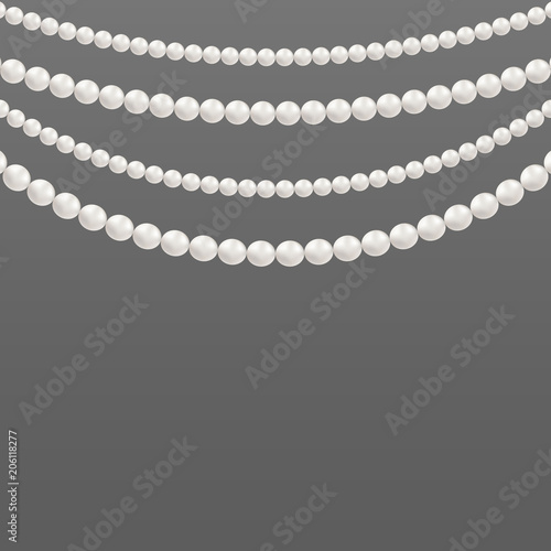 Canvas Print Creative vector illustration of pearl glamour beads