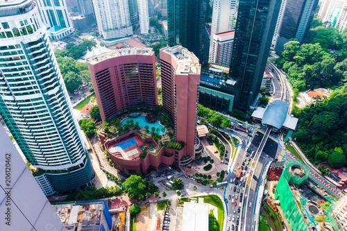 Poster de jardin Kuala Lumpur Kuala Lumpur district with skyscrapers in downtown