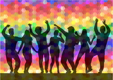 Dancing People Silhouettes. Abstract Background.