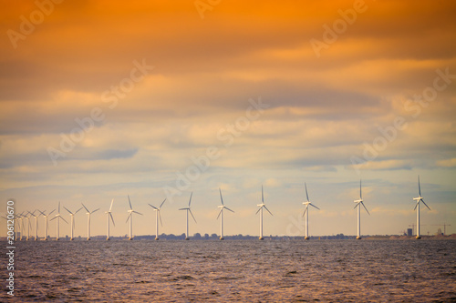 Stickers pour porte Pierre, Sable Wind turbines farm in Baltic Sea, Denmark