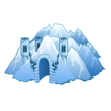 Ice Castle In The Mountains. V...
